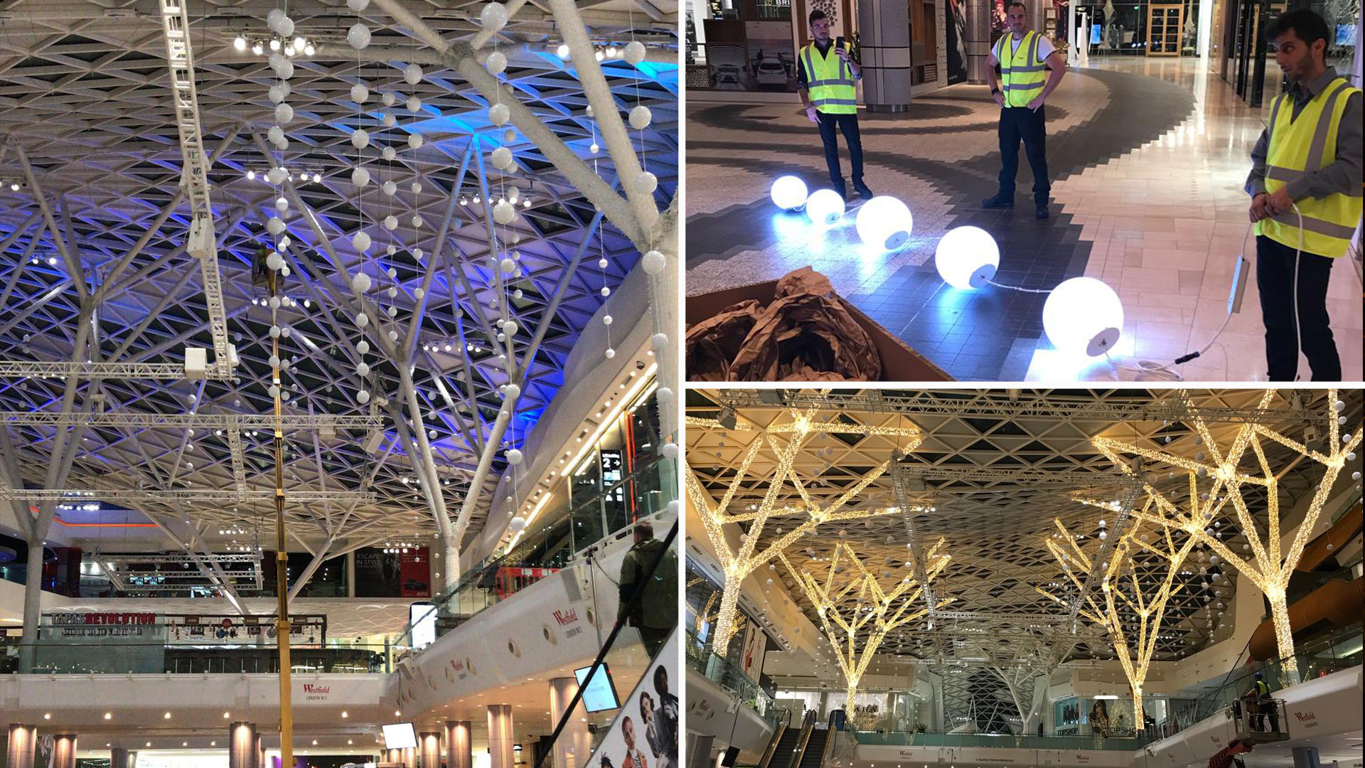 3e3641261 Pictures of the installation of light ball decoration in the shopping  center Westfield London in the